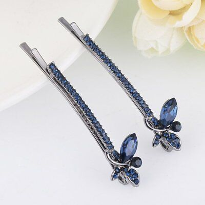2pcs Animal Insect Butterfly Women Crystal Hairpin Barrette Bobby Pins Jewelry
