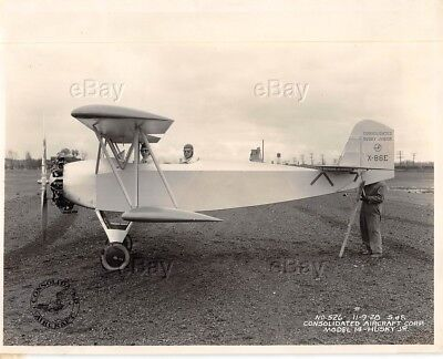 Vintage Photo Consolidated Aircraft Husky Jr Model 14 X-86E Junior 1928 Plane Sf