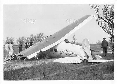 Vintage Aircraft Photo X308H Lockheed Vega 5 Goodrich Airplane Crash Wreckage