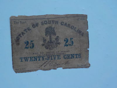 Civil War Confederate 1863 25 Cents Note South Carolina Paper Money SC Currency
