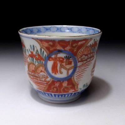 CQ3: Antique Japanese Hand-painted Porcelain OLD IMARI SOBA Cup, 19C