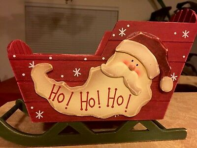 "Christmas Wooden Sleigh Approx 11"" X 8"" Painted Wood Christmas Decor"