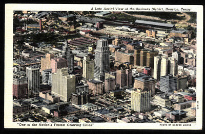 Vintage Aerial View, Business District, Houston, Texas Linen Postcard