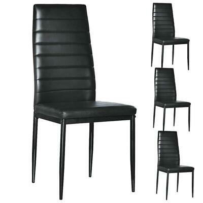 Set of 4 PU Leather Dining Side Chair Modern Elegant Design Home Furniture Black