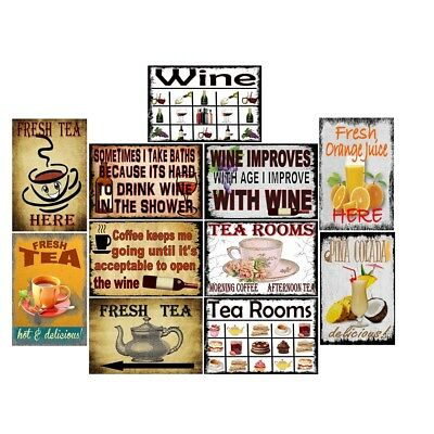 Retro Metal Tin Signs Wine & Tea Room Vintage Plate Cafe Art Wall Decor