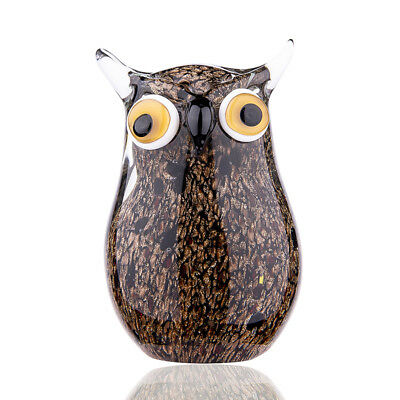 Crystal Figurine Handmade Glass Blown Animal Paperweight Owl Artwork Home Decor