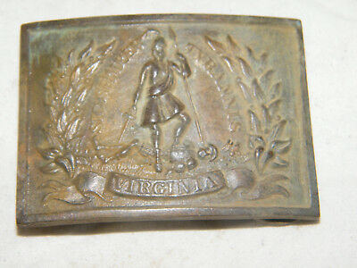 Vintage Reproduction Brass Square Virginia Civil War Eagle Belt Buckle J.S.Smith