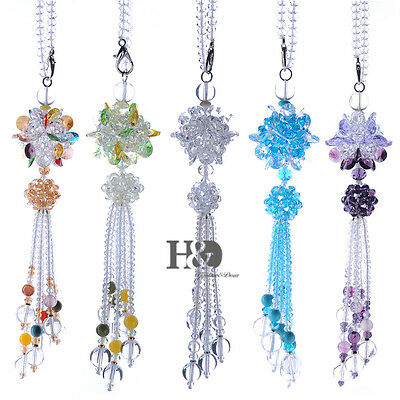 Crystal Suncatcher Set of 5 Handmade Glass Pendant Flower Hanging Ornament Gift