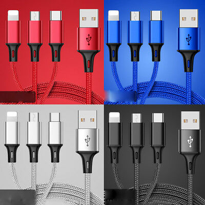 3 in 1 Multi Type-C Cable Micro USB Data Sync Fast Charging for iPhone Android E