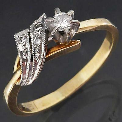 Vintage 1970's Asymmetric Solid 9k Yellow GOLD DIAMOND RING with Accents Sz N