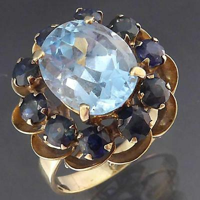 Large Basket Solid 9k Yellow GOLD TOPAZ & 10 SAPPHIRE CLUSTER COCKTAIL RING Sz L
