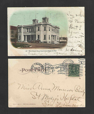1905 Mare Island Navy Yard Gate Ferry In Slip Cal Udb Undivided Back  Postcard