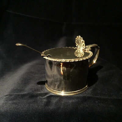George IV Silver Mustard Pot by Crispin Fuller 1821 with glass liner and spoon