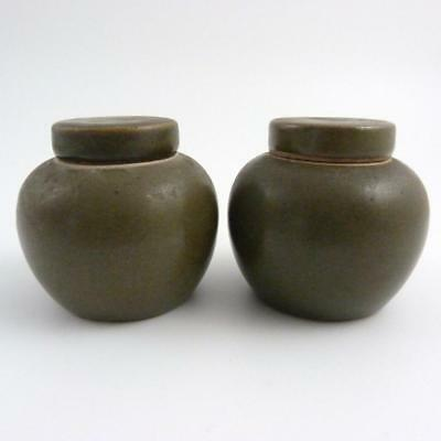 Late 19Th / Early 20Th Century Chinese Tea Dust Glazed Porcelain Jars And Covers