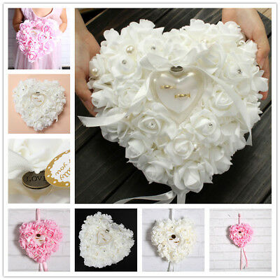 Favor Heart Shaped Wedding Ring Bearer Ring Box Pillow Cushion Gift Holder Decor