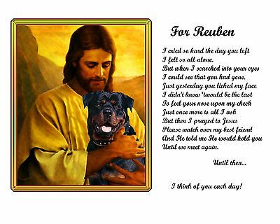 Pet-Loss Gift Idea-Rottweiler Memorial Picture w/Jesus/Poem Personalized w/Name