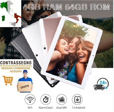 """New Tablet 10"""" 4G Lte Octa Core 4Gb Ram 64Gb Rom Android 7 Scocca Metallo"""