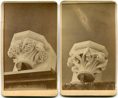 (2) Corinthian Column Tops Architecture 11th Ave & 34th St. NYC CDV Photos