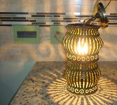 "13""h Mid Century Modern Green Tole Chandelier Ceiling Light Cut Metal Brutalist"
