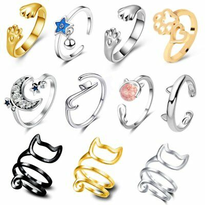 Lovely Adjustable Dog/Cat Paw Footprint Twisted Open Rings Cute Women Jewelry
