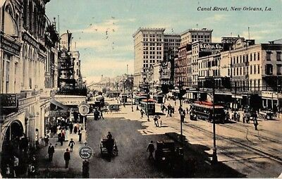 NEW ORLEANS.  Canal Street.  Trolleys.  Vintage cars.  Horse & Wagons.  1911