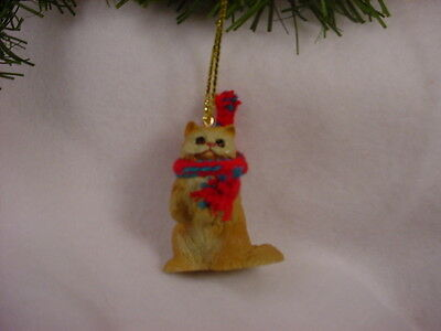 RED PERSIAN CAT Ornament HAND PAINTED Resin Figurine CHRISTMAS COLLECTIBLE kitty