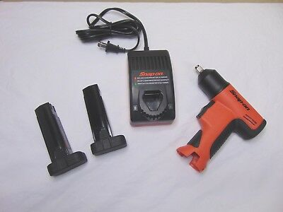 New Orange Snap On Tools 3/8 Cordless Impact Wrench Charger 2 Batterys Free Ship