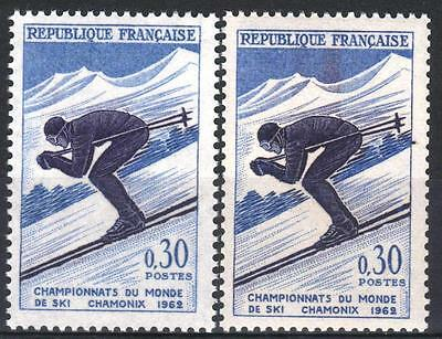 """FRANCE STAMP TIMBRE 1326 """" SKI CHAMONIX 30c VARIETE COULEUR """" NEUF xx LUXE M371"""