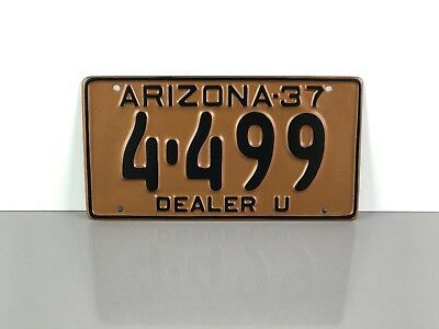 "Vintage 1937 ARIZONA ""Used Dealer"" LICENSE PLATE TAG #4-499 ~ Old AZ Ford Coupe"