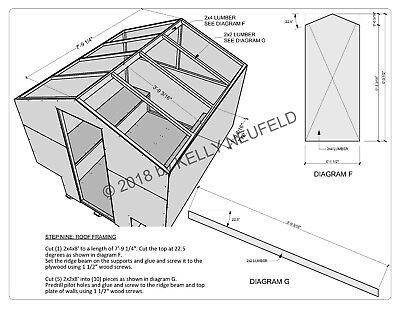 Ice fishing shack shanty hut construction plan drawing blueprint mat'l/cut list