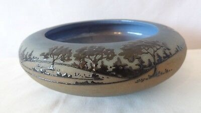 """Brush McCoy 1920'S Rare Jetwood 5"""" Bowl Opening 01 Squeeze Bag Trees #K313"""