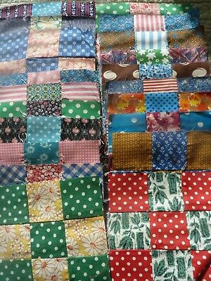 "20 scrappy scrap vintage depression quilt blocks 9 patch feed flour sack 6""x 6"""