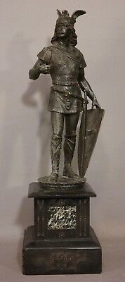 Antique 19thC Victorian MEDIEVAL WARRIOR Old KNIGHT & ARMOR Sword SOLDIER STATUE