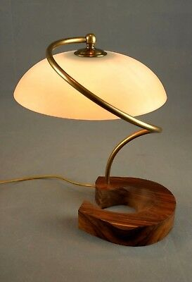 1970s Rosewood and Brass Spiral Table Lamp Vintage Rare Eames Panton 60s Era