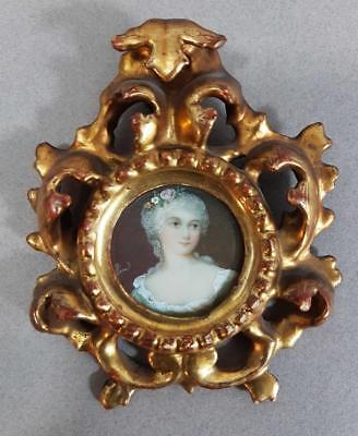 STUNNING SIGNED ANTIQUE PORTRAIT MINIATURE PAINTING of a BEAUTIFUL LADY 1800s
