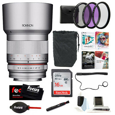 Rokinon 21mm f/1.4 Wide Angle Lens for Sony E-Mount (Silver) and Accessory Kit