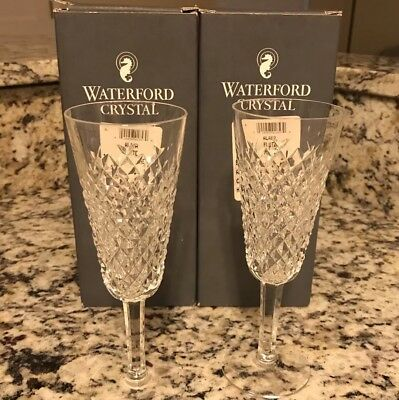 """Set of 2 Waterford Crystal Alana 7 1/2"""" Champagne Flutes, original box"""