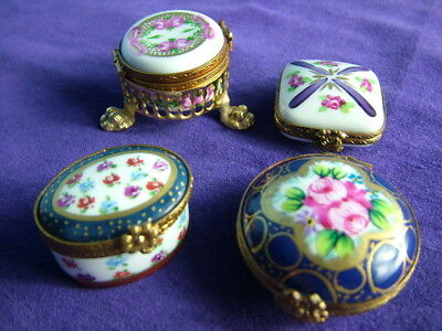 Vintage collection of four French Limoges trinket / pill / patch boxes