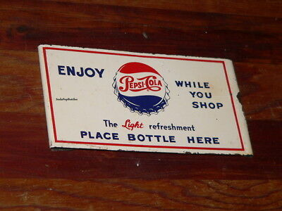Originl Pepsi Cola While You Shop 2 Bottle Holder Grocery Cart Advertising Sign