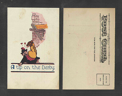 190x A TIP ON THE DERBY { MAN HIT IN HEAD W/ BRICK } UDB UNDIVIDED BACK POSTCARD