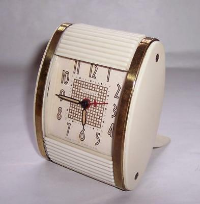Vintage 1950s WESTCLOX Wind Up TRAVEL ALARM CLOCK Cream With Tambour Roll Top