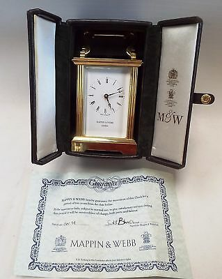 MAPPIN & WEBB Brass Carriage Clock With Case & Certificate - W61