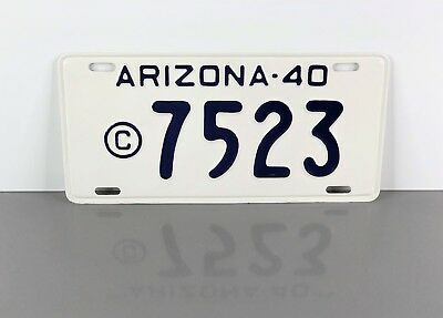 Vintage 1940 ARIZONA County Government LICENSE PLATE TAG #7523 Old AZ Police Car