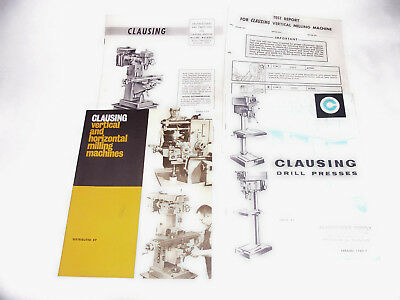 1955 Clausing Vertical Mill 8520 & 8525 Instructions / Parts Brochure + Others