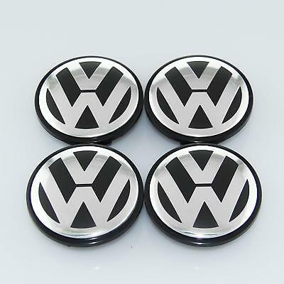 VW Wheel Caps 65mm 4x - Black & Chrome - Fits Most Models