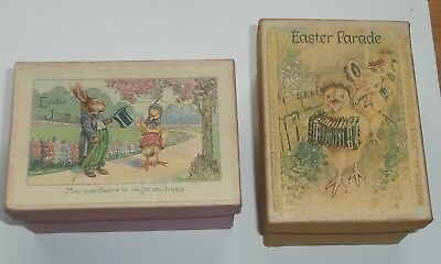 2 Wonderful Vintage Easter Cardboard Boxes Bunnies and Chicks Very Cute Graphics