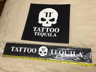 Tattoo Tequila Service Mat And Bar Rail Set Of Two. New