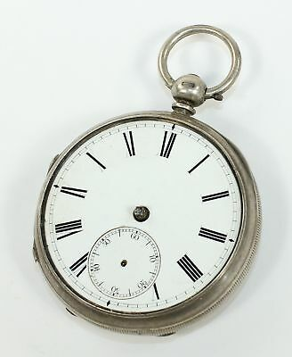 Antique English Fusee Pocket Watch - Silver Case- Dh477