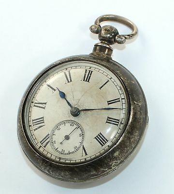 ANTIQUE ENGLISH 50mm PAIR CASE FUSEE POCKET WATCH - SILVER CASE - DH479