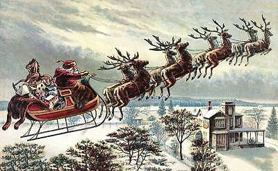 Santa in Sleigh Full of Toys over Country Home Christmas vintage art